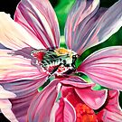 Buzzy Work - oil painting of a busy bee at work by James  Knowles