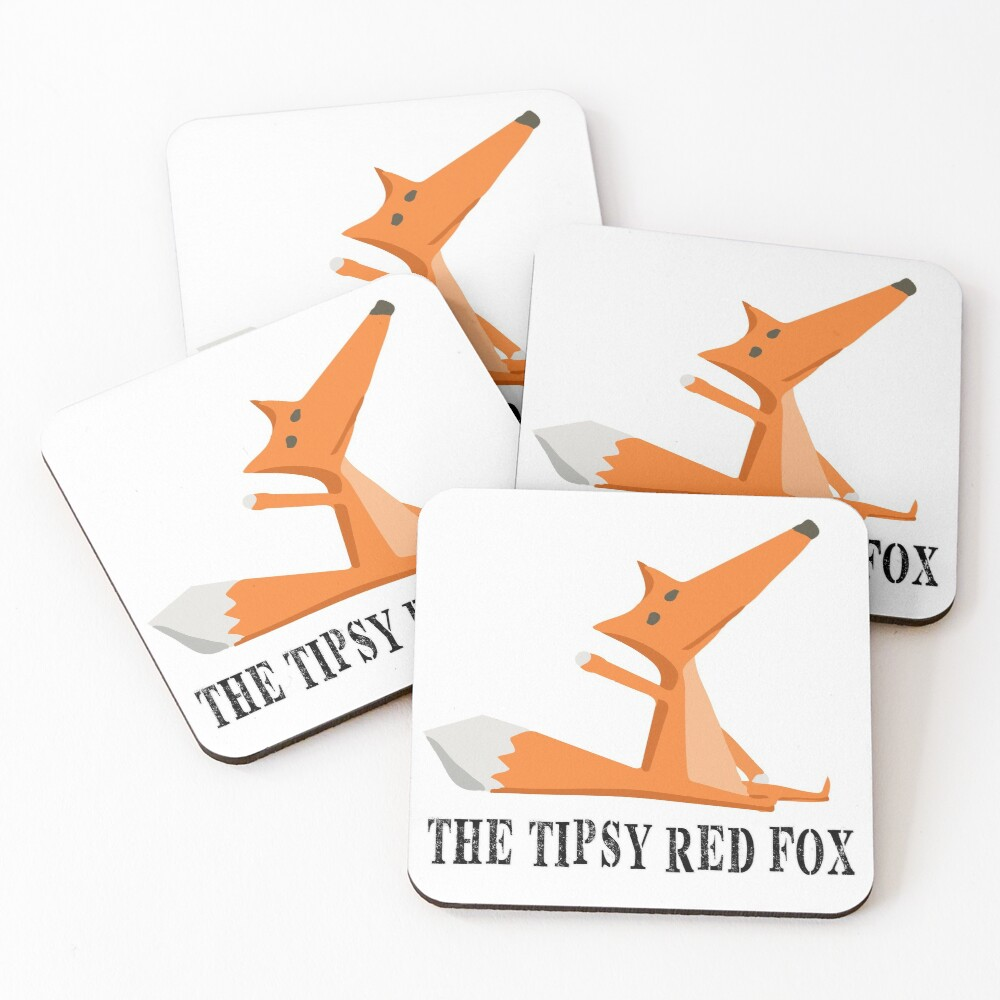 The Tipsy Red Fox T-Shirts - Clothes and Home decor Coasters (Set of 4)