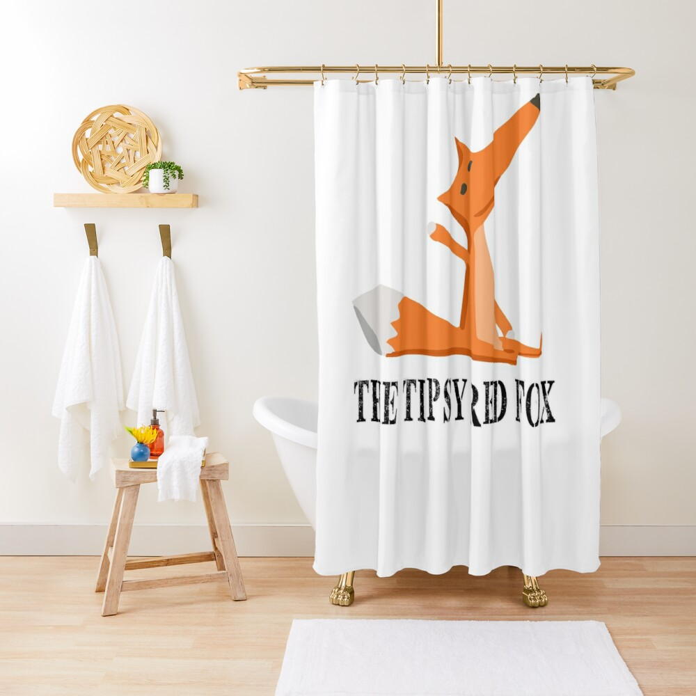 The Tipsy Red Fox T-Shirts - Clothes and Home decor Shower Curtain