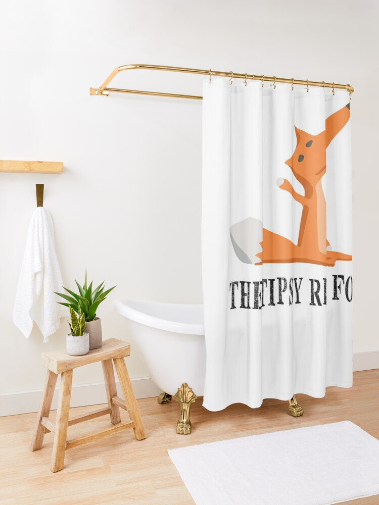 Alternate view of The Tipsy Red Fox T-Shirts - Clothes and Home decor Shower Curtain