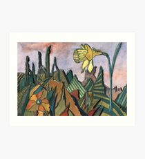 95 - LANDSCAPE WITH DAFFODIL - DAVE EDWARDS - WATERCOLOUR - MAY 2003 Art Print