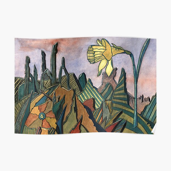95 - LANDSCAPE WITH DAFFODIL - DAVE EDWARDS - WATERCOLOUR - MAY 2003 Poster