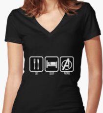 Eat Sleep Avenge Women's Fitted V-Neck T-Shirt