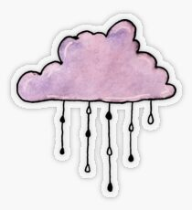 purple rain cloud watercolor Transparent Sticker