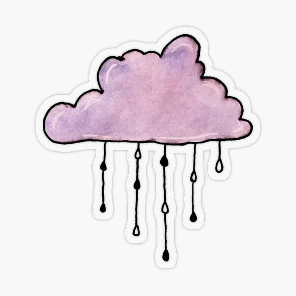 purple rain cloud watercolor Transparent Sticker