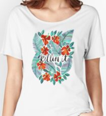 Killin' It – Tropical Red & Green Women's Relaxed Fit T-Shirt
