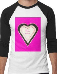 Happy Valentine Pink Beaded Heart  Men's Baseball ¾ T-Shirt