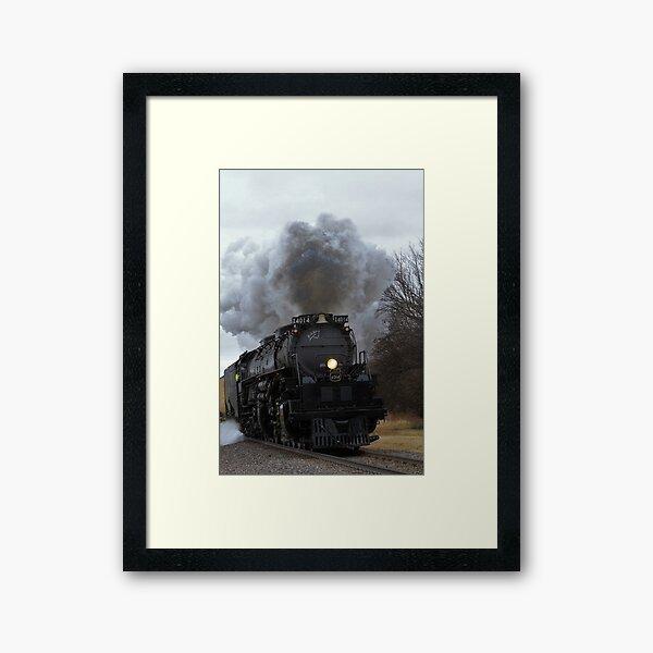 Big Boy 4014 smoke and steam in Black Wolf Kansas  Framed Art Print