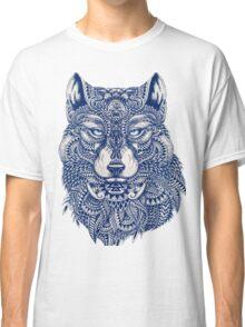 Blue Tones Detailed Wolf Head Illustration Art Classic T-Shirt