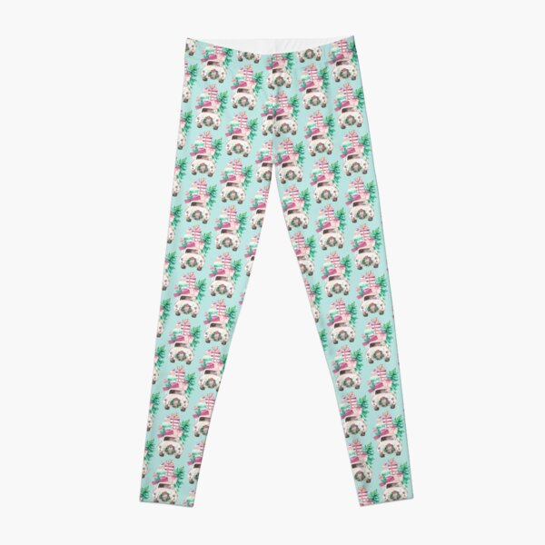Cute Pink Christmas VW bug with presents Leggings