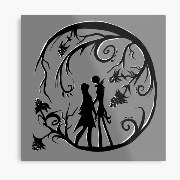 Jack and Sally Silhouette Metal Print