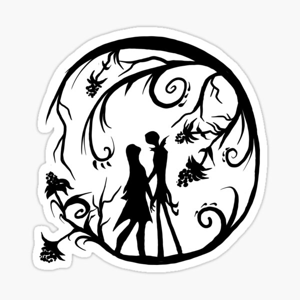 Jack and Sally Silhouette Sticker