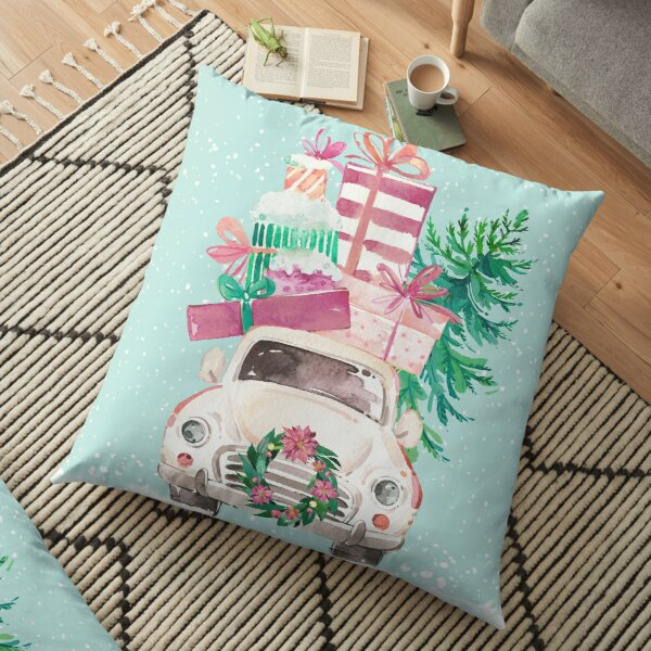 Cute Pink Christmas VW bug with presents Floor Pillow