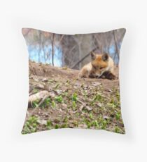 Kit Fox with Chew Toy Throw Pillow