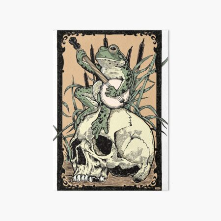 Victorian Frog Playing Banjo Art Board Print