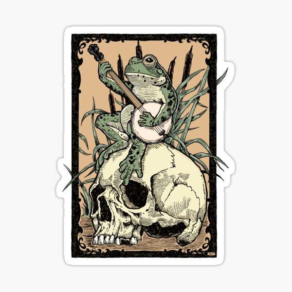 Victorian Frog Playing Banjo Sticker
