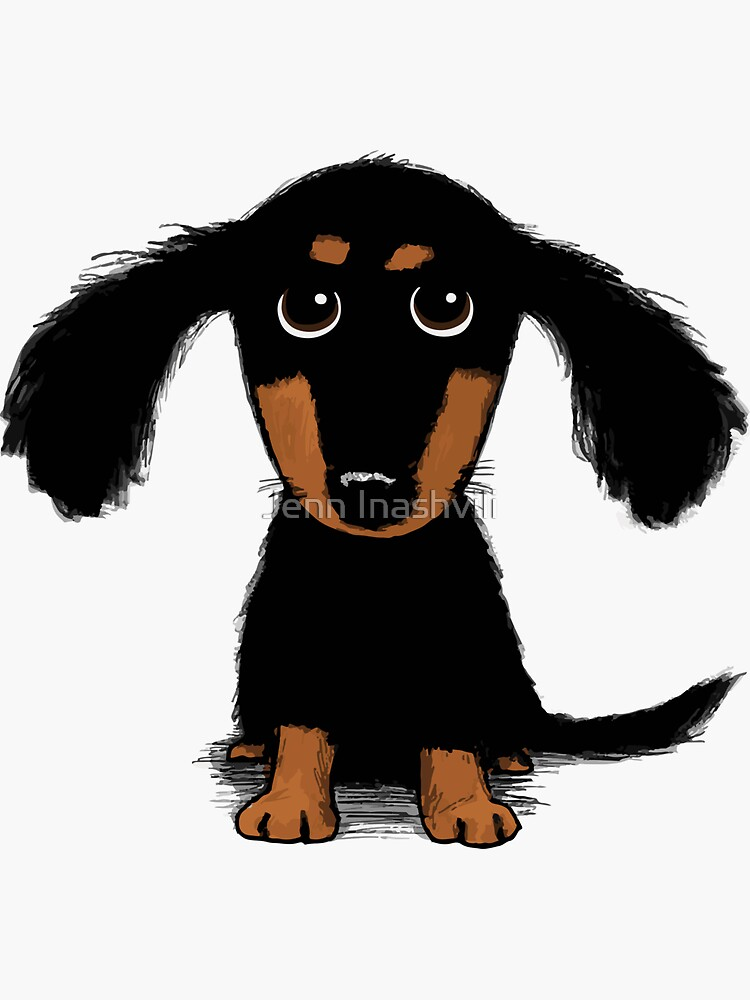 Longhaired Dachshund Black and Tan Puppy Dog by ShortCoffee