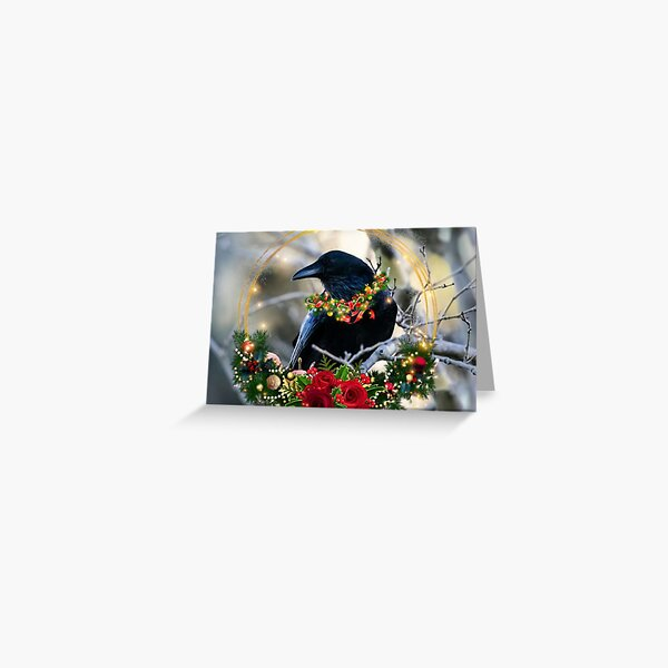 Christmas Crow, raven, winter solstice Greeting Card