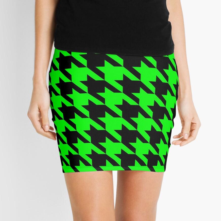 lime green houndstooth  Mini Skirt