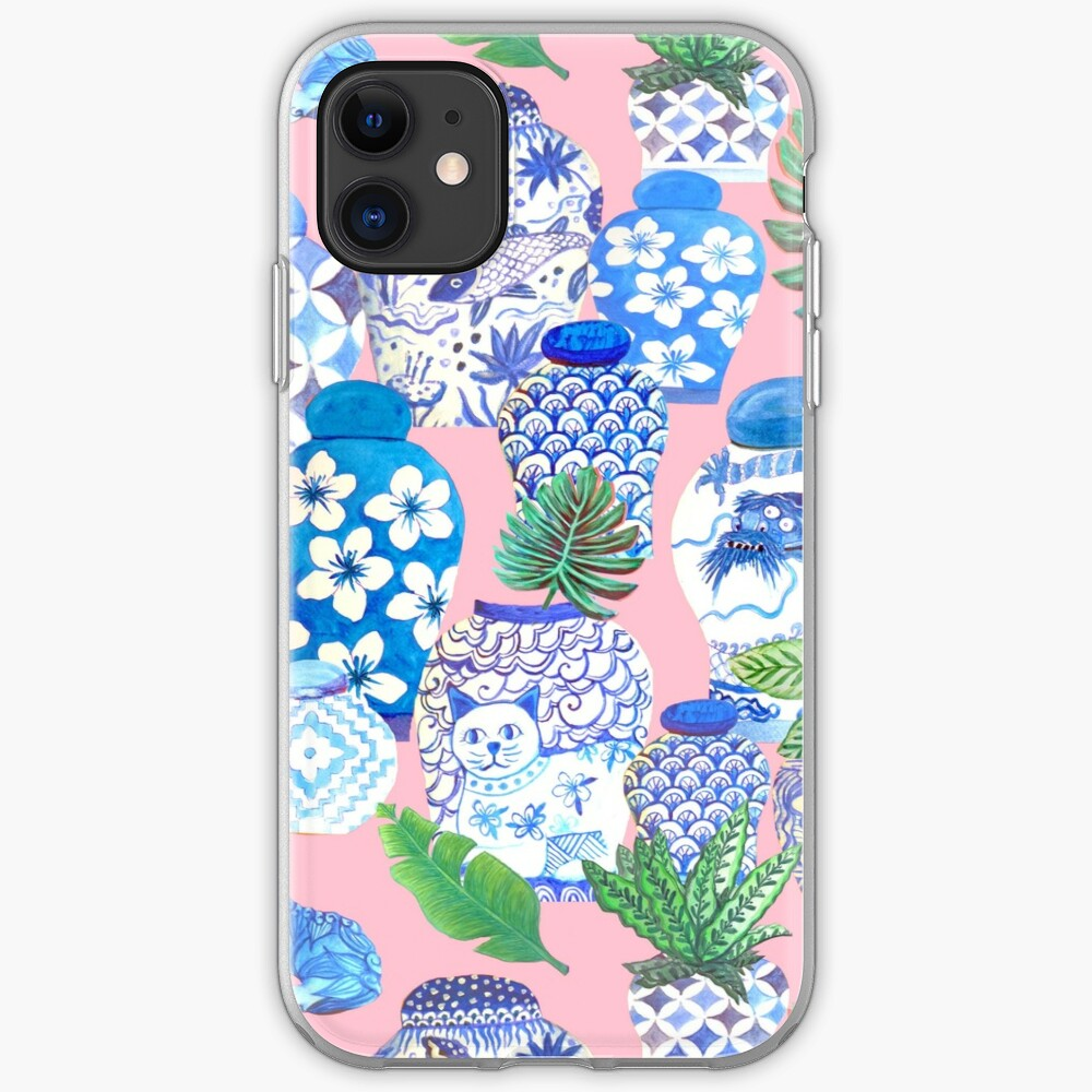 chinese ginger jars and foo dogs with palms on pink iPhone Case & Cover