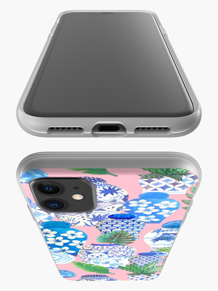Alternate view of chinese ginger jars and foo dogs with palms on pink iPhone Case & Cover