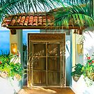 Salinas 1 - oil painting of a hotel door in Mexico by James  Knowles