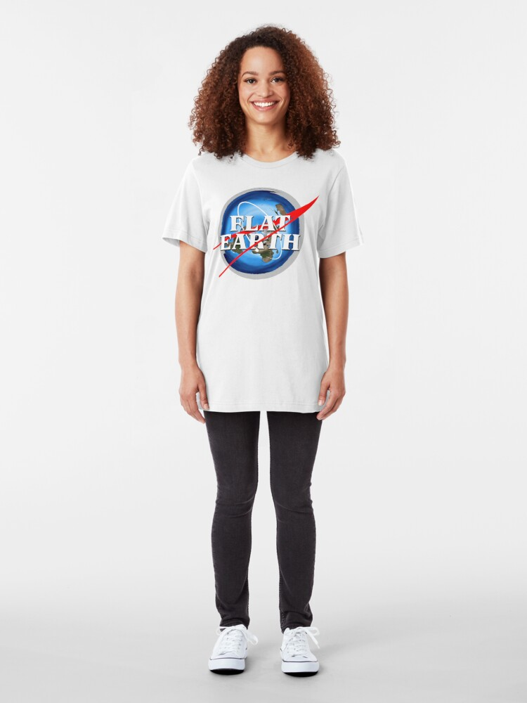 Alternate view of Flat Earth NASA Logo Slim Fit T-Shirt