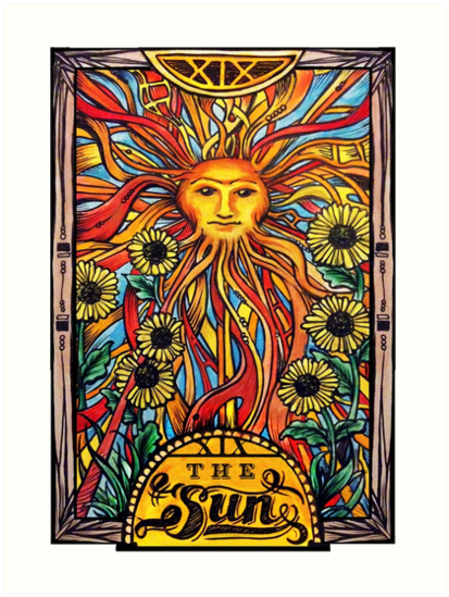 """Tarot Card Number 19 ""The Sun"""" Art Prints By"