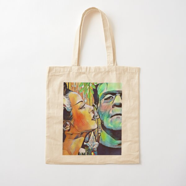 Christmas Frankenstein and Bride Kiss under the mistletoe  Cotton Tote Bag