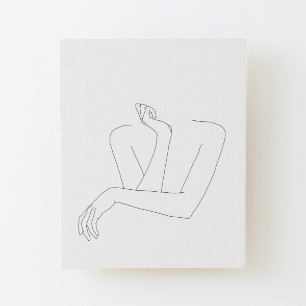 Folded arms line drawing - Anna Wood Mounted Print