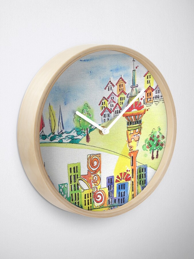 Alternate view of Auckland cityscape Clock