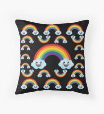 Rainbow Emoji JoyPixels Cute Rainbow With Fun Clouds Floor Pillow