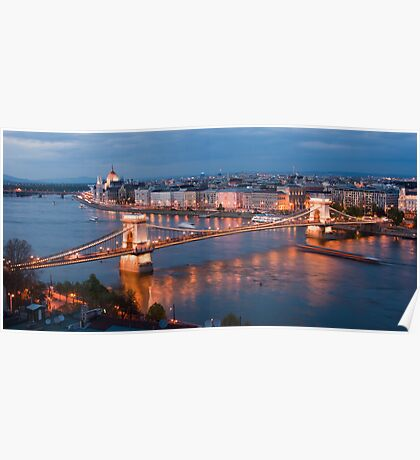The Danube flowing through Budapest Poster