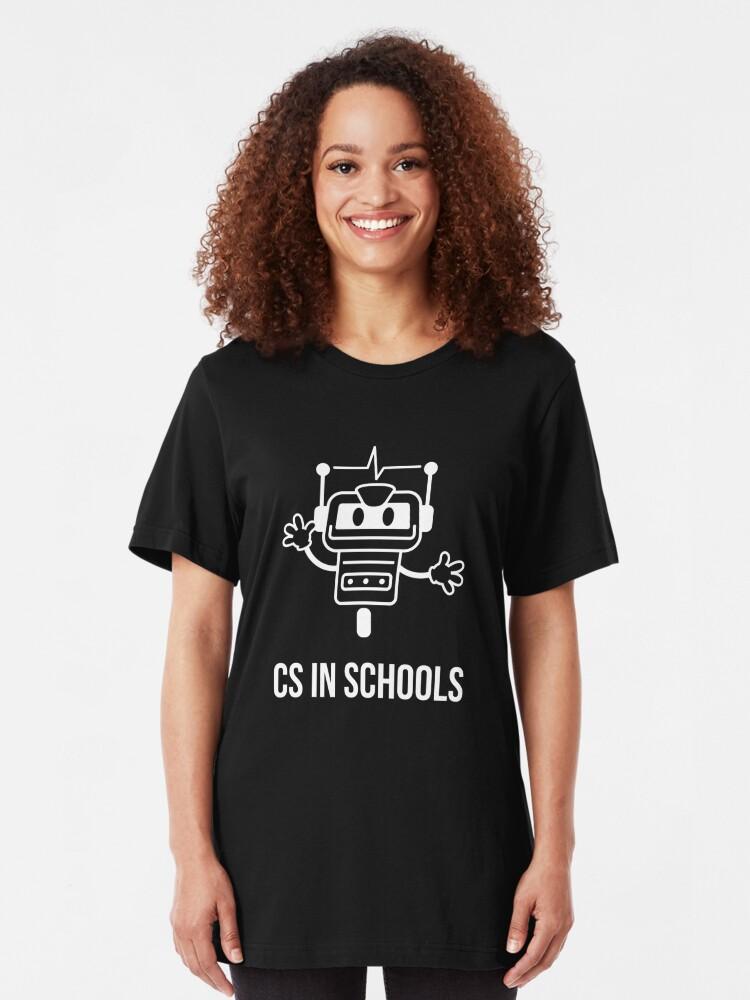 Alternate view of CS in Schools Robot (White) Slim Fit T-Shirt