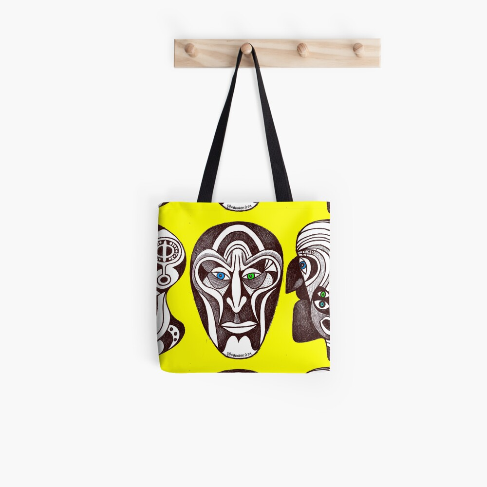 My twin illogical fractal faces (original handmade drawing) Tote Bag