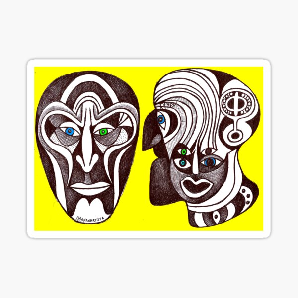 My twin illogical fractal faces (original handmade drawing) Sticker