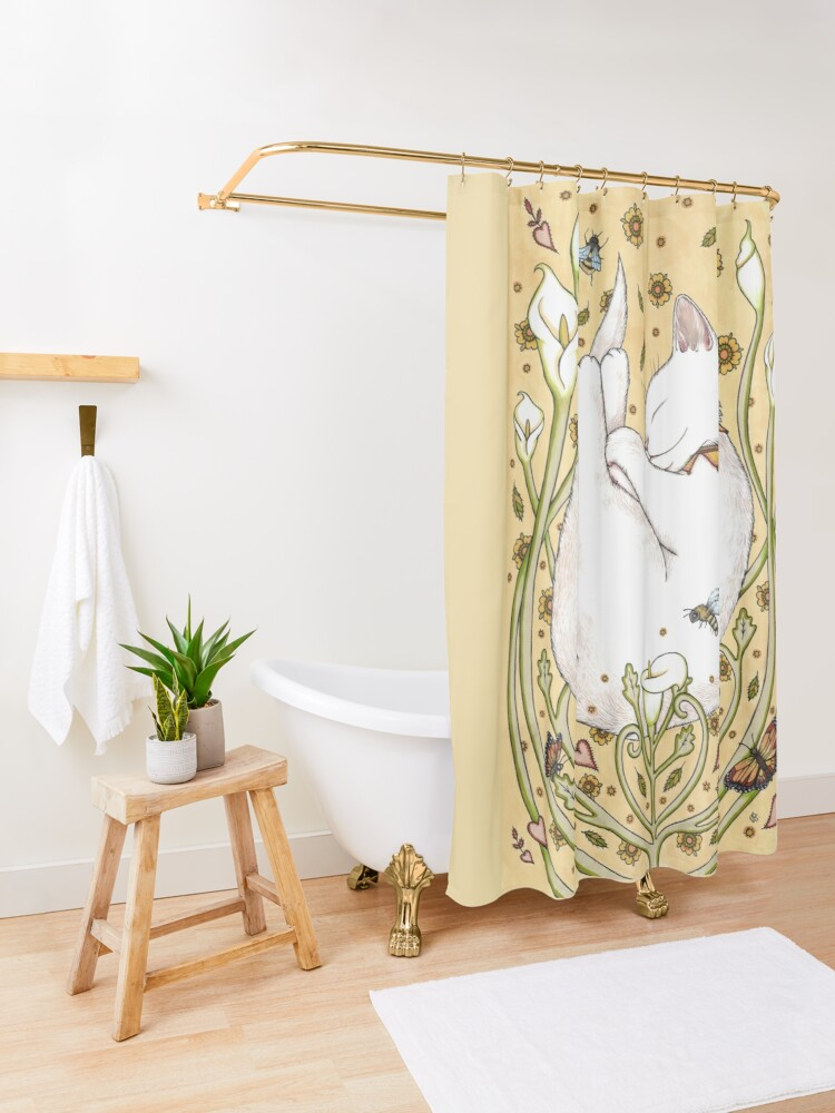 Alternate view of Butterflies and Bees Shower Curtain