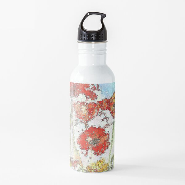 Mosaic poppies Water Bottle