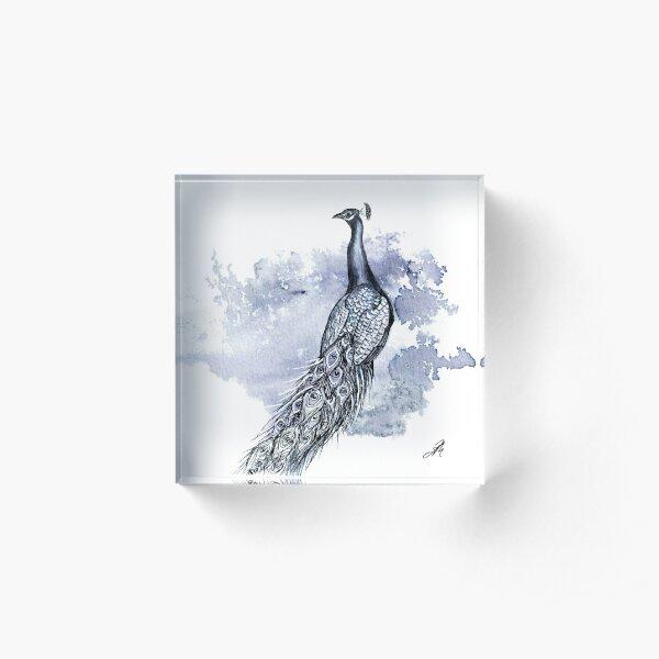 Pretty Peacock Ink Drawing Acrylic Block