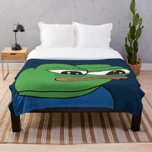 PepeTheFrog Apu Apustaja The Helper Kekistan Wall eyed pepe Blue with Sticker Set HD HIGH QUALITY ONLINE STORE Throw Blanket