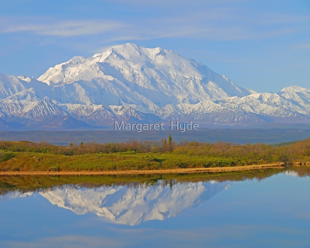Mt McKinley and Reflection Lake, Denali N. P.,  Alaska USA by Margaret  Hyde