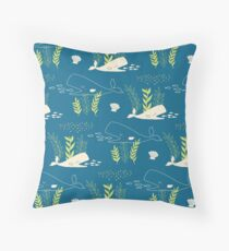 Very Hungry Whale Throw Pillow