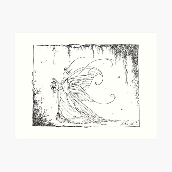 THE FAERY QUEEN Pen and Ink Illustration Art Print