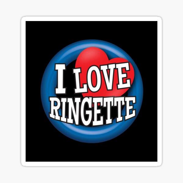 'I Love Ringette' (Black) Sticker