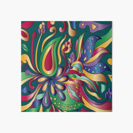 Groovy Mushroom Paisley Florals- Jewel Tone Pattern Art Board Print