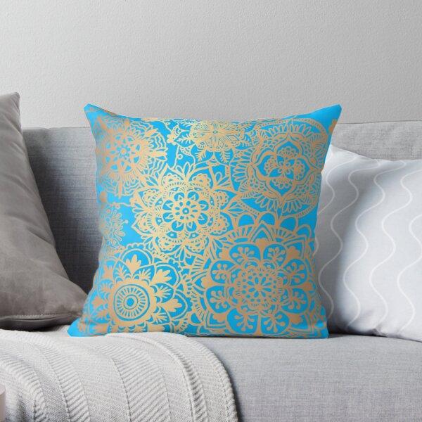 Light Blue and Gold Mandala Pattern Throw Pillow