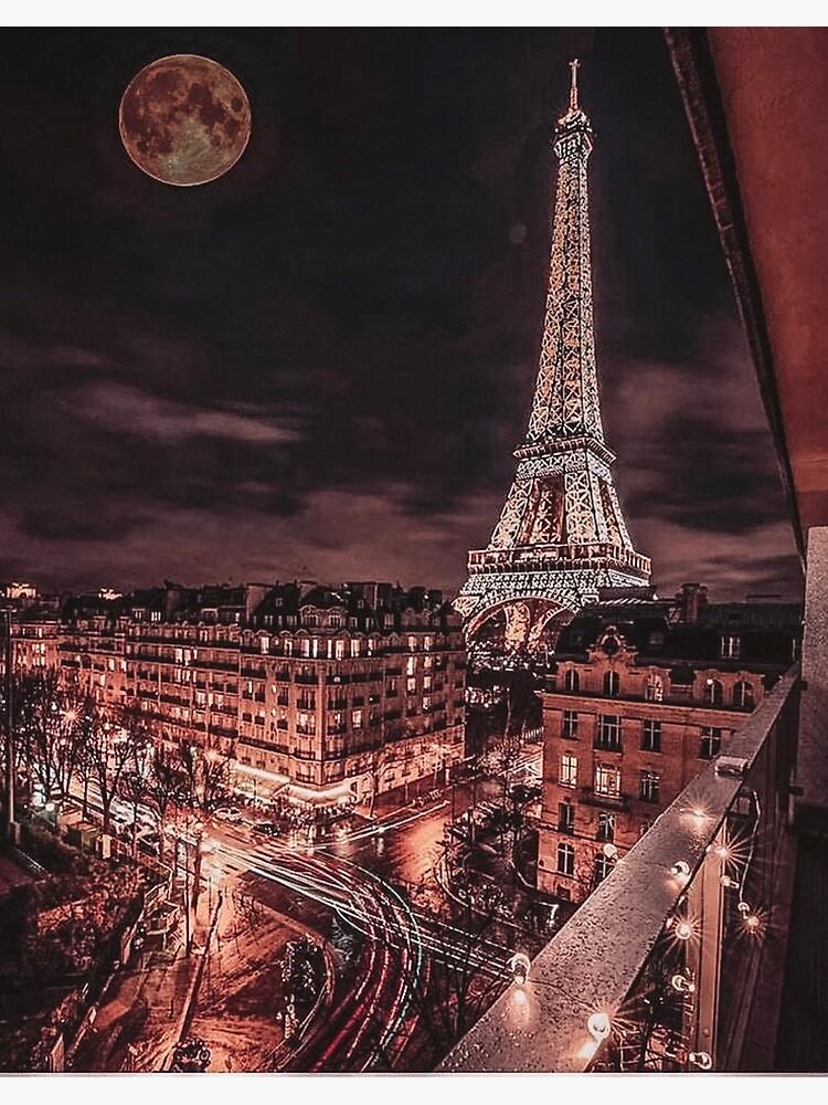 Paris Nights Rose Gold City Scene Aesthetic Window View Art Board Print By Wildxinfinite Redbubble