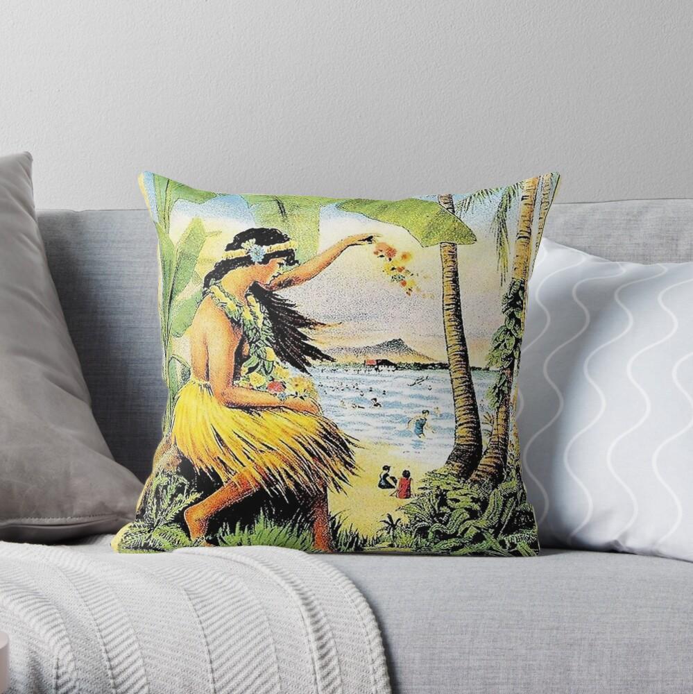 HAWAII  Vintage Honolulu Mid-Pacific Carnival Print     Throw Pillow