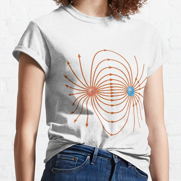 Lines of the electric field of two unlike charges Classic T-Shirt