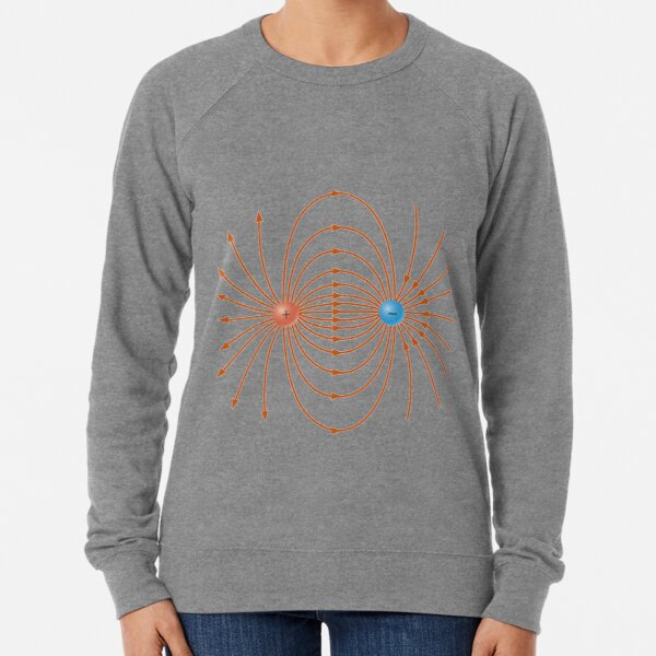 Lines of the electric field of two unlike charges Lightweight Sweatshirt